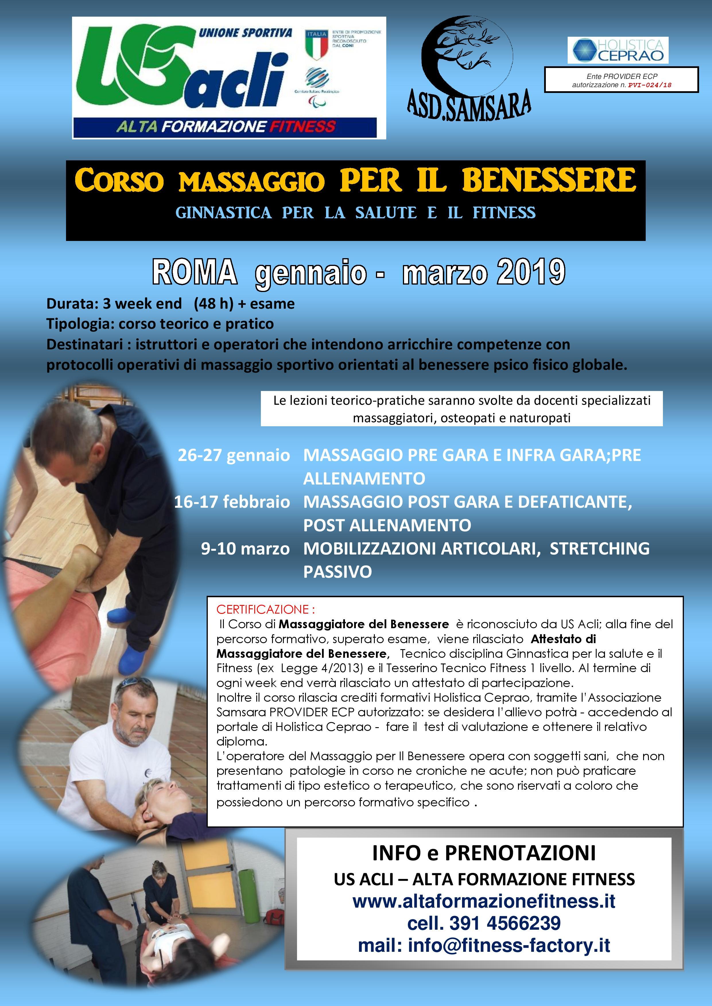 Fitness Factory Corso Massaggiatore Del Benessere Massaggio Sportivo